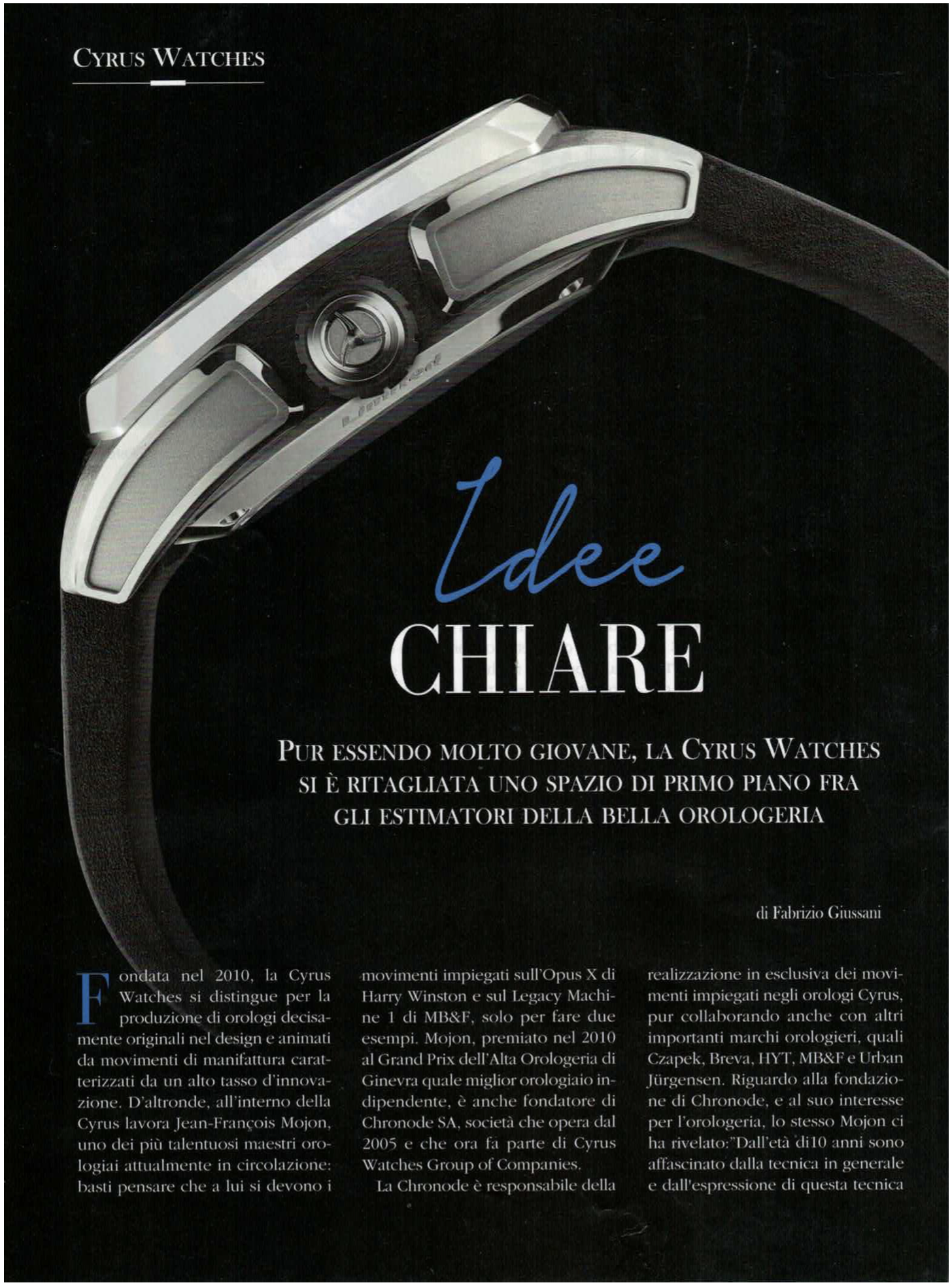 Interview magazine L'OROLOGIO